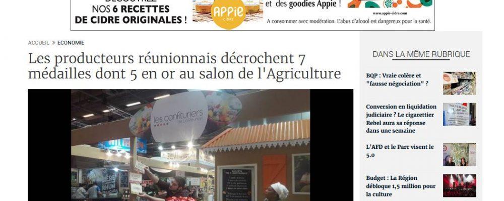 [ Clicanoo ] Les producteurs réunionnais décrochent 7 médailles dont 5 en or au salon de l'Agriculture