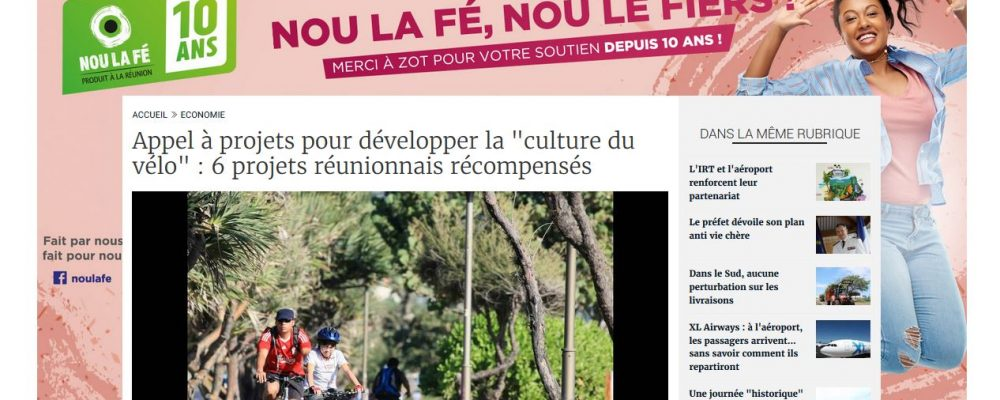 [ Clicanoo] Appel à projets pour développer la «culture du vélo» : 6 projets réunionnais récompensés